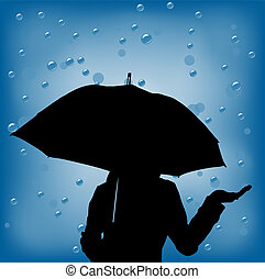 woman in a rainy day holding ubrella - young woman in a...