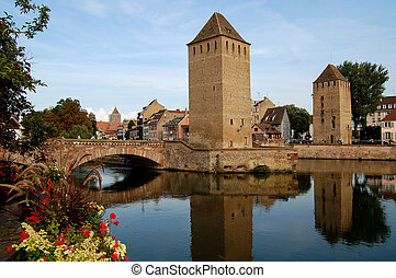 The district of La Petite France in Strasbourg with its bridges and towers