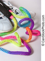 Skipping Rope and Trainers - Trainrs and multi-coloured...