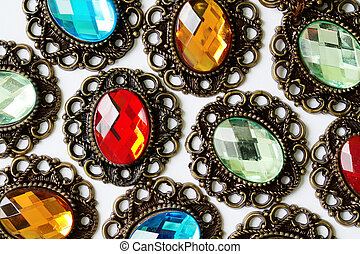 color brooches - multicolors vintage brooches on white...