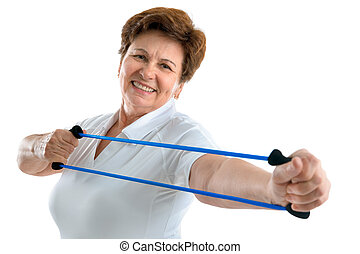 fitness - Senior woman using a resistance band