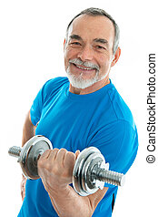 fitness - senior man lifting weights during gym workout