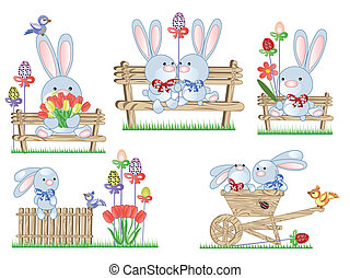 Easter set with rabbits