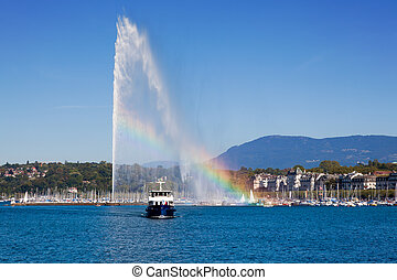 Geneva water fountain - The jet of water the symbol of the...
