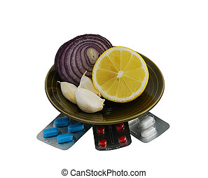 Set of alternative remedies for flu treatment isolated on...