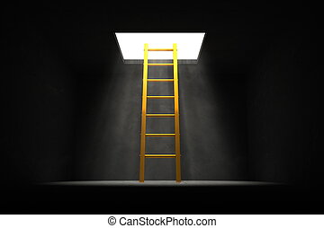 Exit the Dark - Yellow - Golden Ladder to the Light - yellow...