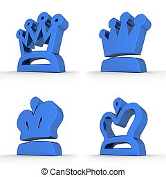 Four Royal Crowns - Royal Blue - four different crown symbol...