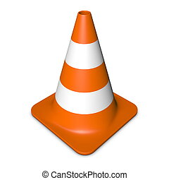 Traffic Cone - Orange - single traffic in 3d with orange and...