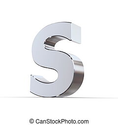 Shiny Letters S - shiny 3d letters S made of silver/chrome