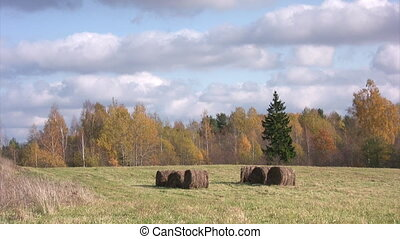 Autumn landscape with clouds and hay bales