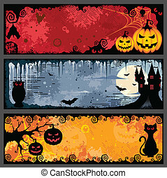 Halloween Banners - Vector set of three grunge halloween...
