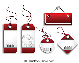 Cardboard Sales Tags - Collection of five red and white...