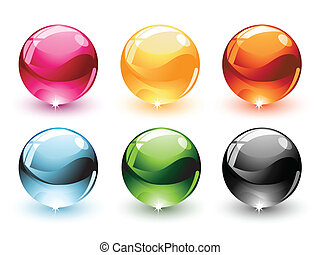 Spheres - Collection of six colorful glossy spheres,...