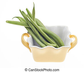 French Style Green Beans in a Yellow Cooking Dish