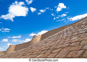 Walls of an ancient city of Khiva, Uzbekistan