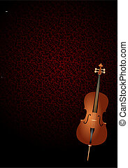 cello with art nouveau background