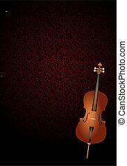 cello with art nouveau background