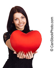 Valentines Day Woman holding Valentines Day heart sign with...