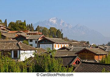 telhados, lijiang, antigas, cidade, yunnan, China