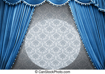 Blue vintage stage - Vintage stage with blue curtain