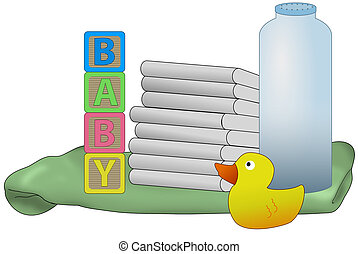 baby diapers illustration - Items for a new baby, diapers,...