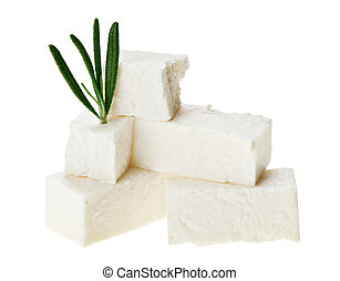 Feta cheese cubes with rosemary twig, isolated on white