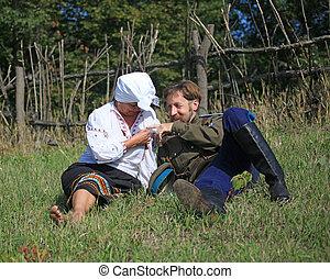 A merry meeting - Cossack men and women, met in the meadow...