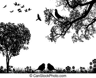 Abstract nature background with birds and tree, in black and...