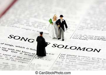 Concept: Bride and groom getting married on bible - Concept...