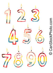 Number candles 0 to 9 - Group of lit birthday candle numbers...
