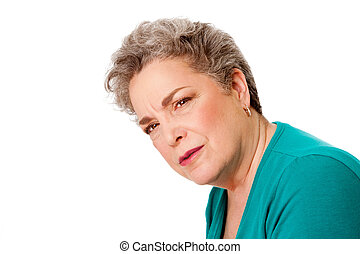Confused senior woman - Beautiful senior old woman with...