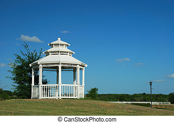 White Gazebo - Bright white gazebo on the hill