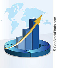 3d Background business graph