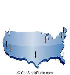 US map pointing locations illustration isolated over a white...