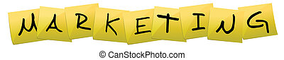 marketing Post it yellow sign isolated over a white...