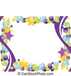 celebration balloon frame with stars isolated over a white...