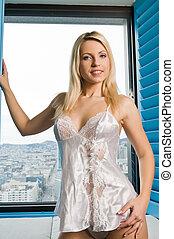 Czech woman - Beautiful young Czech woman in white lingerie