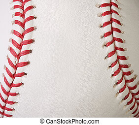 Macro baseball seams - Macro baseball showing the red seams