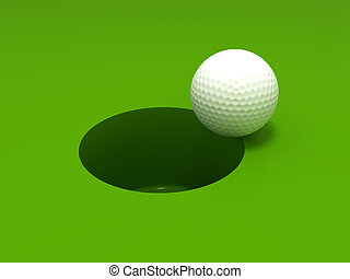 Golf ball and hole - 3D rendering of a golf ball on the edge...