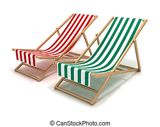 Beach chairs - 3D rendering of a couple of beach chairs