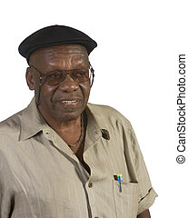 Old African American Man with Beret - Old African American...