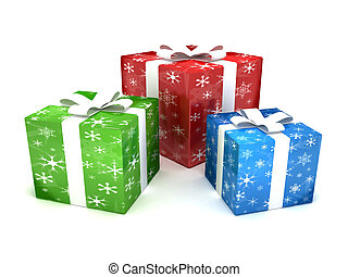 Christmas presents - 3D rendering of colorful Christmas gift...