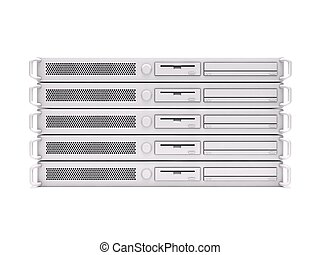 Rack servers - 3D rendering of a stack of dedicated servers