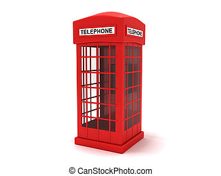 Phone booth - 3D rendering of a classic telephone booth