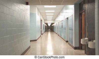Highschool hallway 3. Slow zoom.
