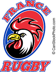 France Rugby Rooster cockerel - illustration of a French...