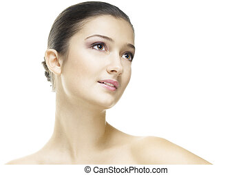 beauty portrait - a beauty girl on the white background
