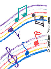 Colorful music notation drawing on white, isolated musical...