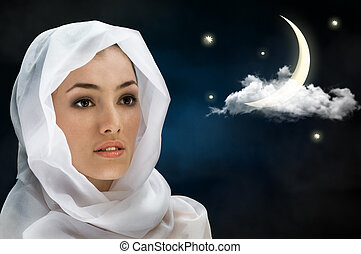 the night - a beauty girl on the night background