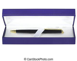 pen in blue gift box